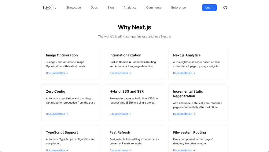 Next.js homepage features list
