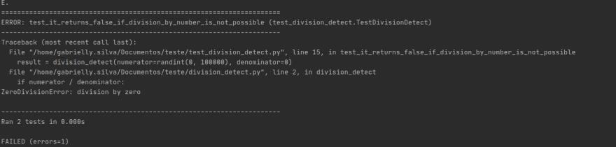 Zero division error: test failed