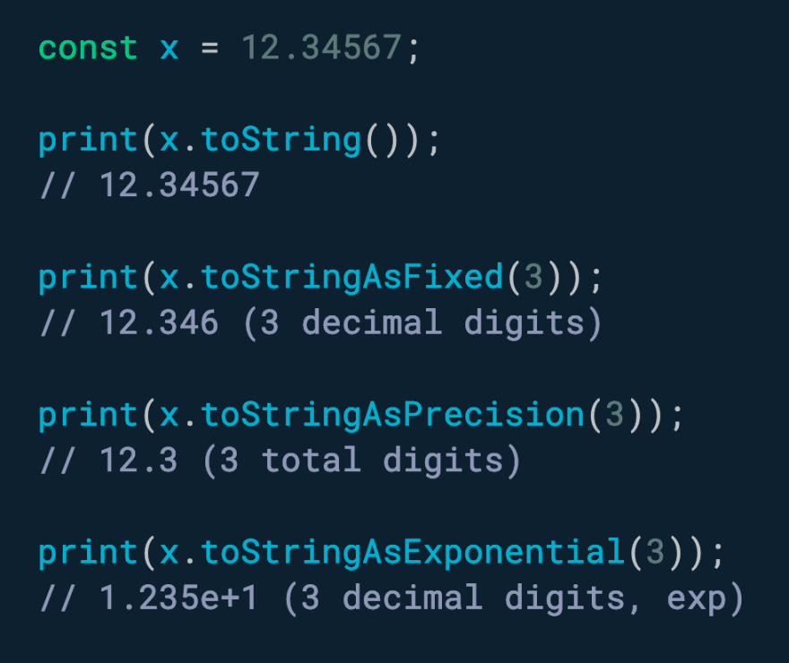 Use toStringAsFixed(n) to format a number with n decimal places.