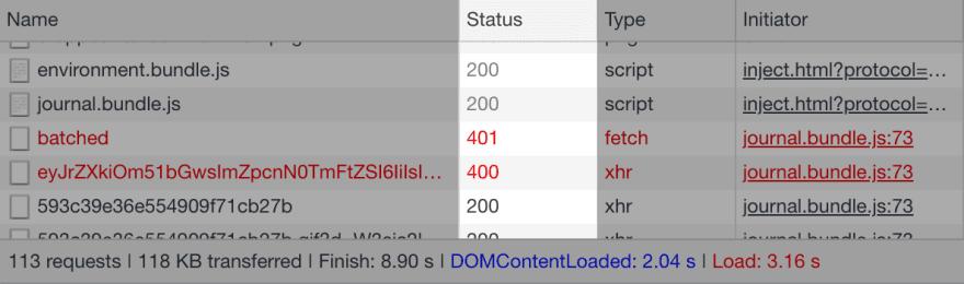 HTTP response status codes in Chrome developer tools