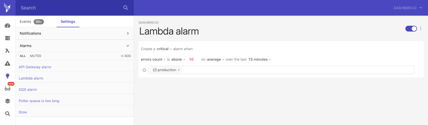 setting up lambda alarm
