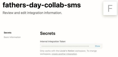 internal integration token