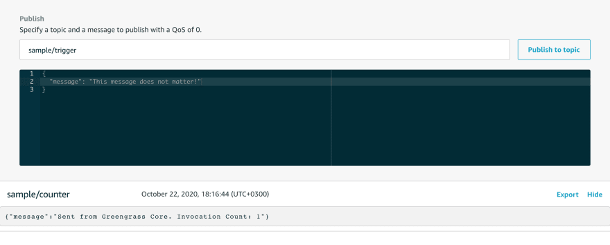 AWS IoT Test Pub.