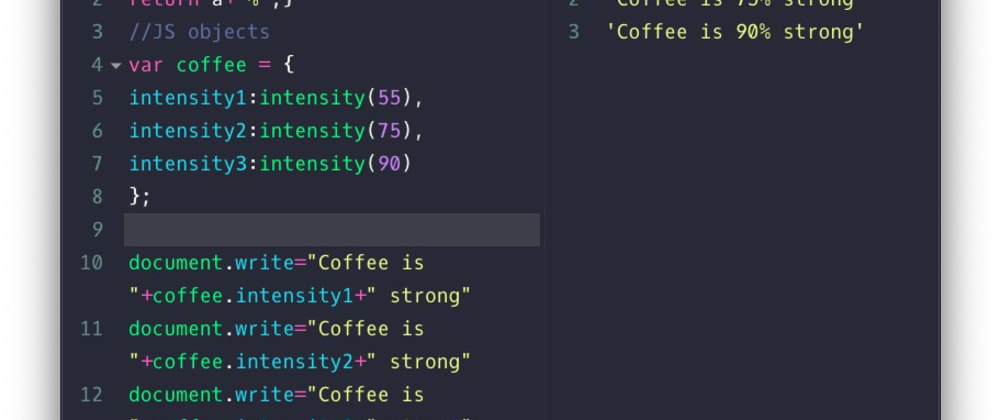 Cover image for JS objects' example (coffee intensity)