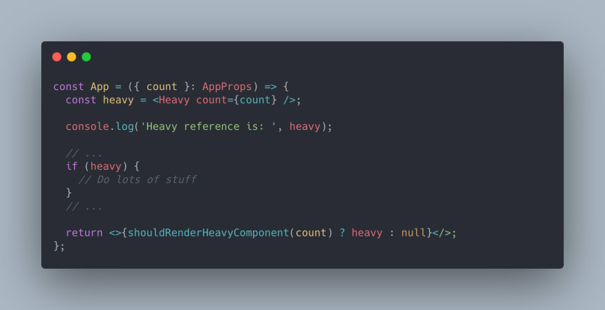 React TypeScript Code of the App component. Rendering condition in return statement. If-statement added