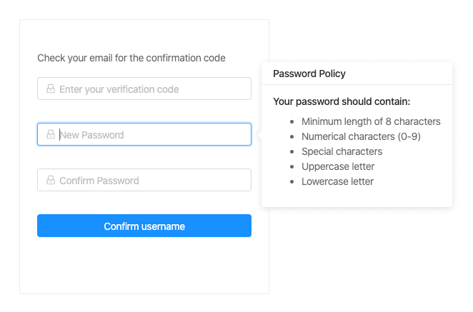 Our App's Password Reset Container