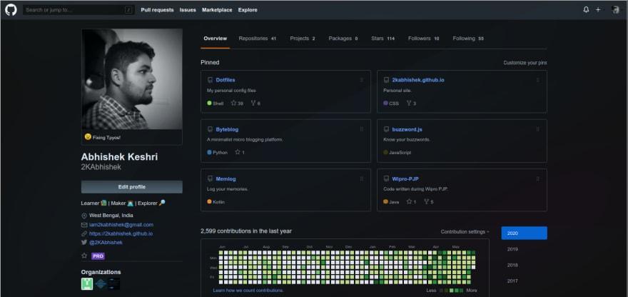 GitHub in Dark Mode