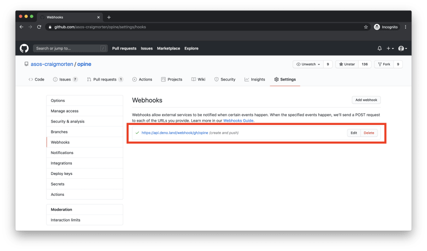 GitHub webhooks page with newly created webhook highlighted in list