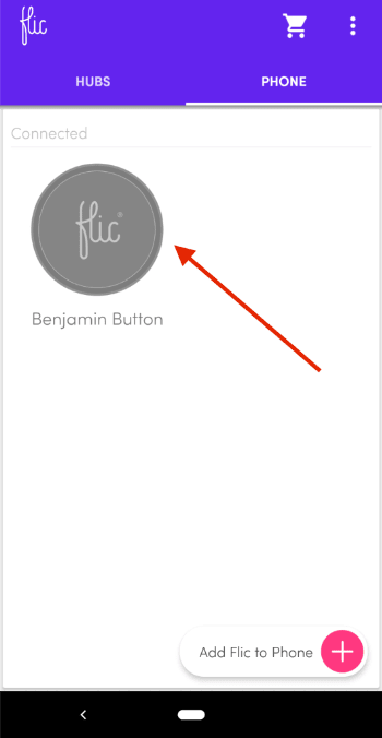 Buttons list in the Flic button app