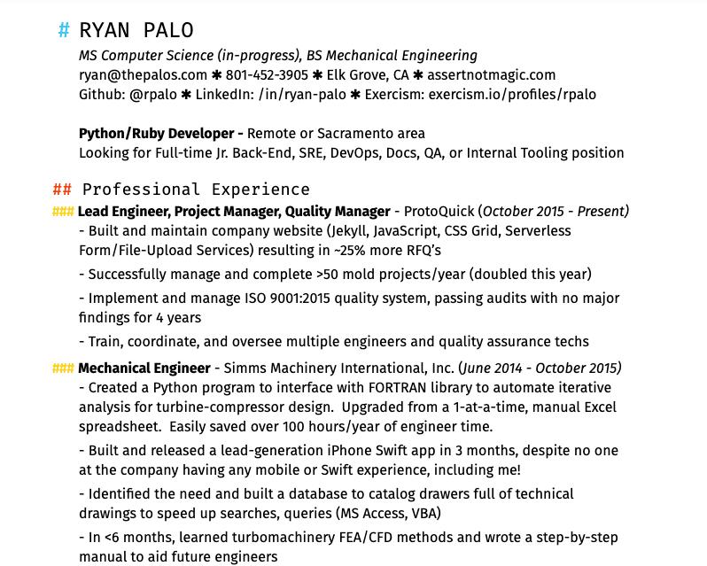 My resume, rev 3, part 1.