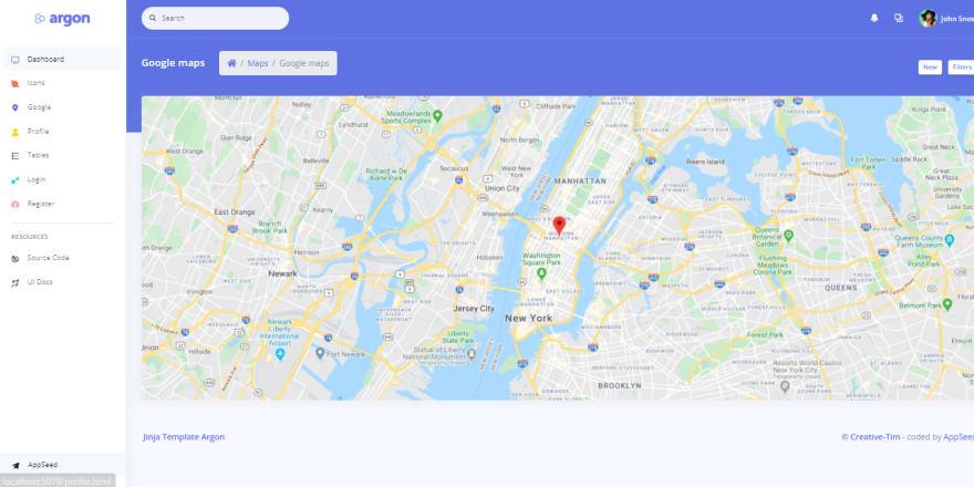 Jinja Template - Argon Dashboard, Google Maps.