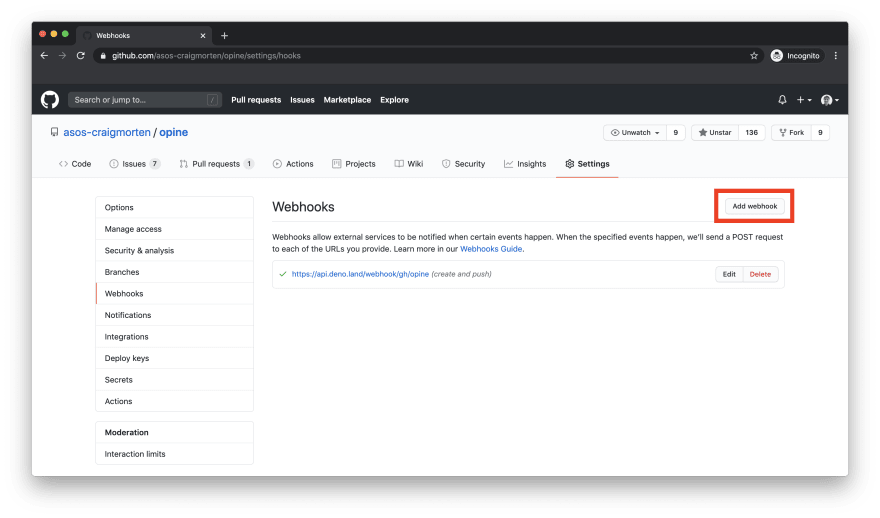 GitHub webhooks page with highlighted add webhook button