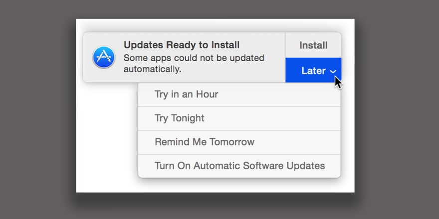 Image of Mac OS X asking when to install updates