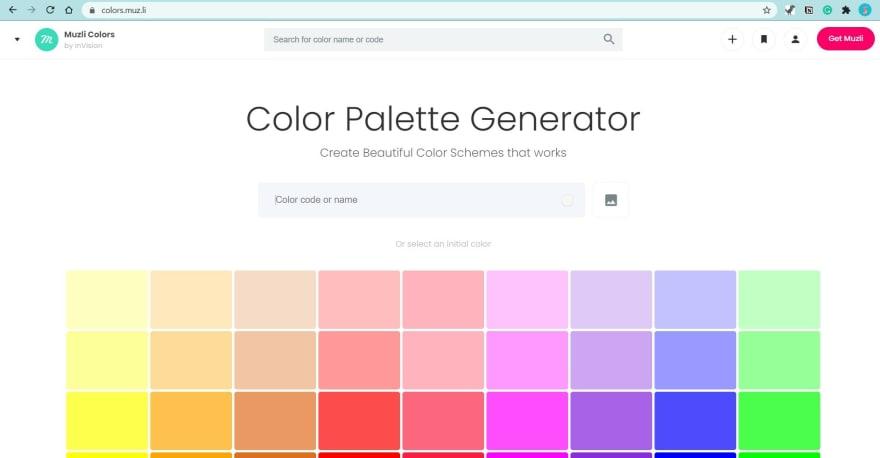 Muzli Colors website screenshot