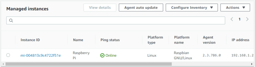 Raspberry Pi registered as a managed instance in console