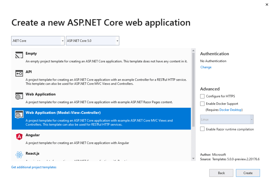 Create a new ASP.NET Core web application