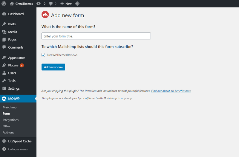 Create a signup form using MailChimp plugin to send blog posts by email.