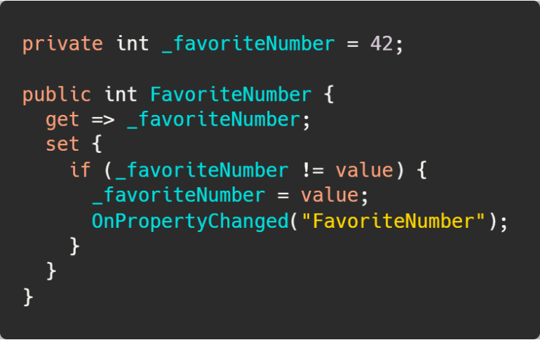 The old notify property changed pattern without using nameof.