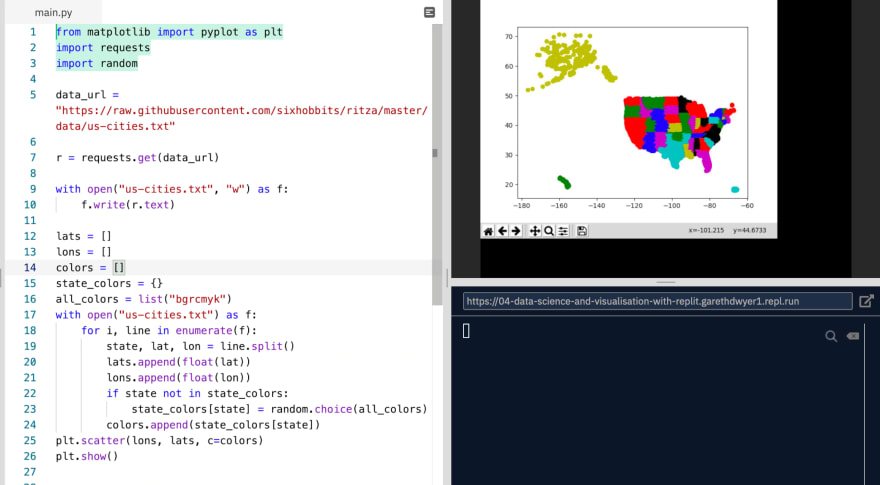 **Image 2:** *All the cities in the US plotted by state as a scatterplot*