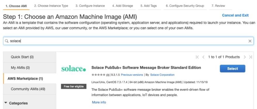 Click the AWS Marketplace tab and search for Solace
