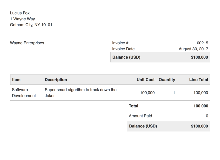 Final rendered PDF with invoicing system