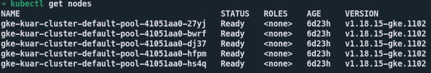 kubectl get nodes<br>  output