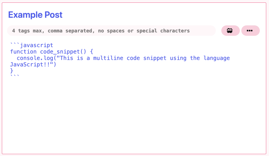 example of using a multiline code snippet with JavaScript displayed within the text editor