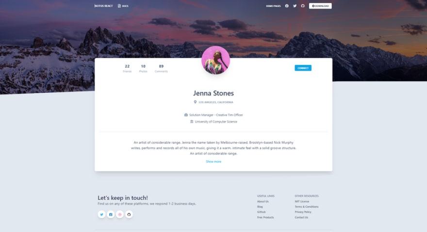 Notus React - Profile Page.