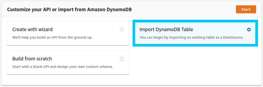 AppSync import existing DynamoDB table