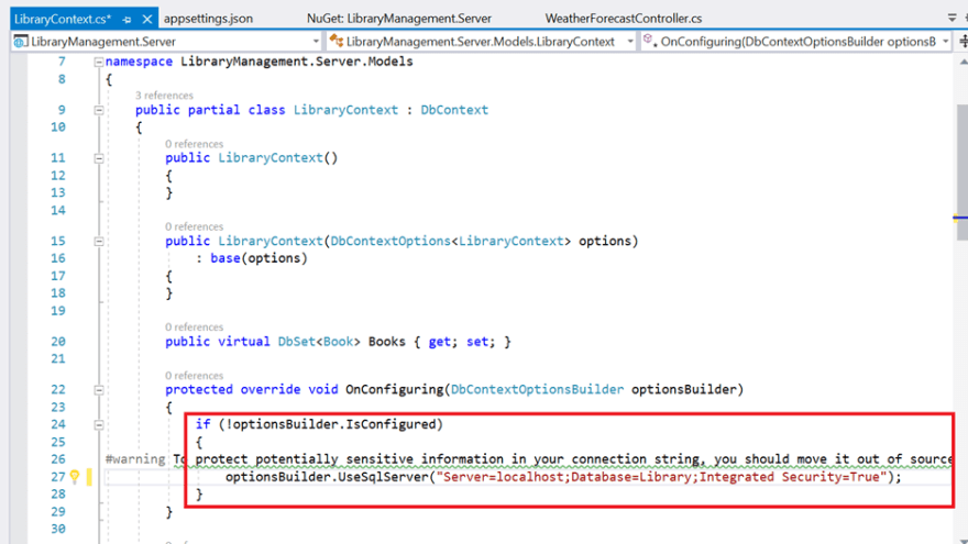 LibraryContext.cs file contains the connection string details in the OnConfiguring method