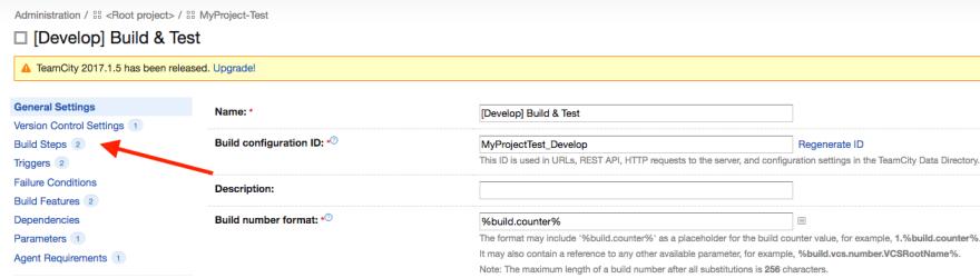 build configuration step 2