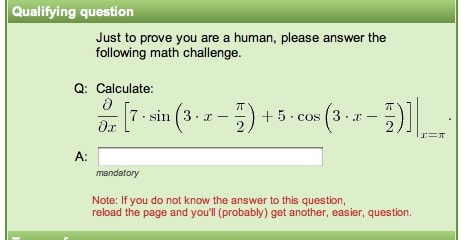CAPTCHA asking you to solve complex mathematical equations