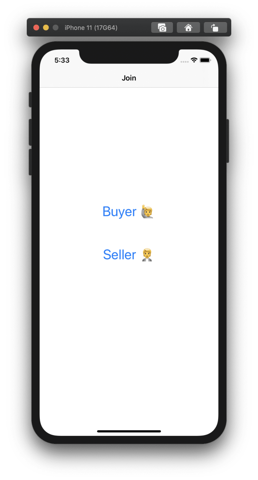 Screenshot shows an app with two buttons, one to join as a buyer, and the other to join as the seller