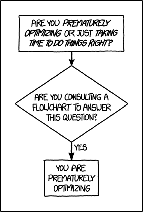 XKCD - Flow chart for if you are prematurely optimizing in which consulting a flowchart confirms you are