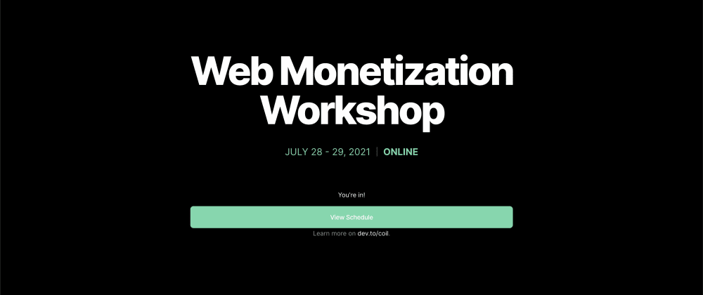 Cover image for How to participate in the Web Monetization Workshop