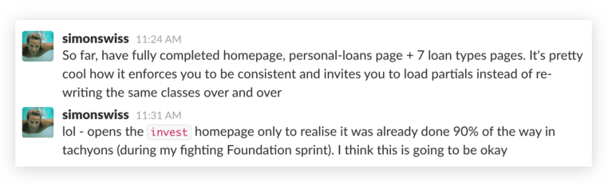 Snippet of slack discussion