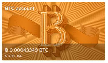 Screenshot of my Uphold balance showing a balance of 0.00043349 Bitcoin, or 3.98 USD.