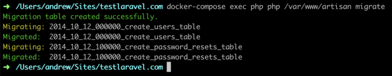 Screenshot of a terminal after running a docker-compose migrate command