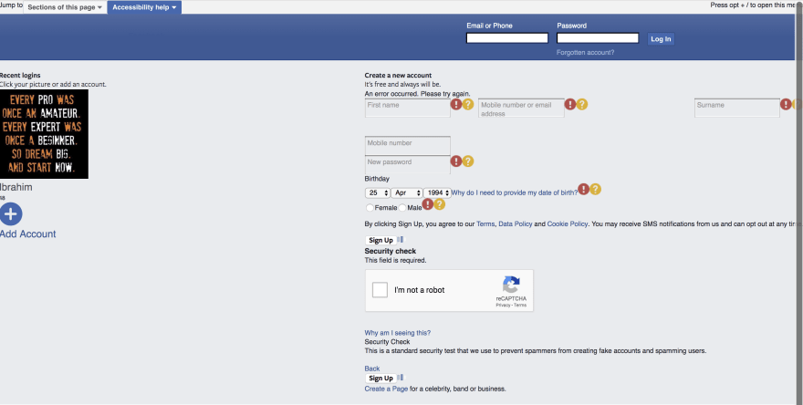 Facebook page with only little CSS