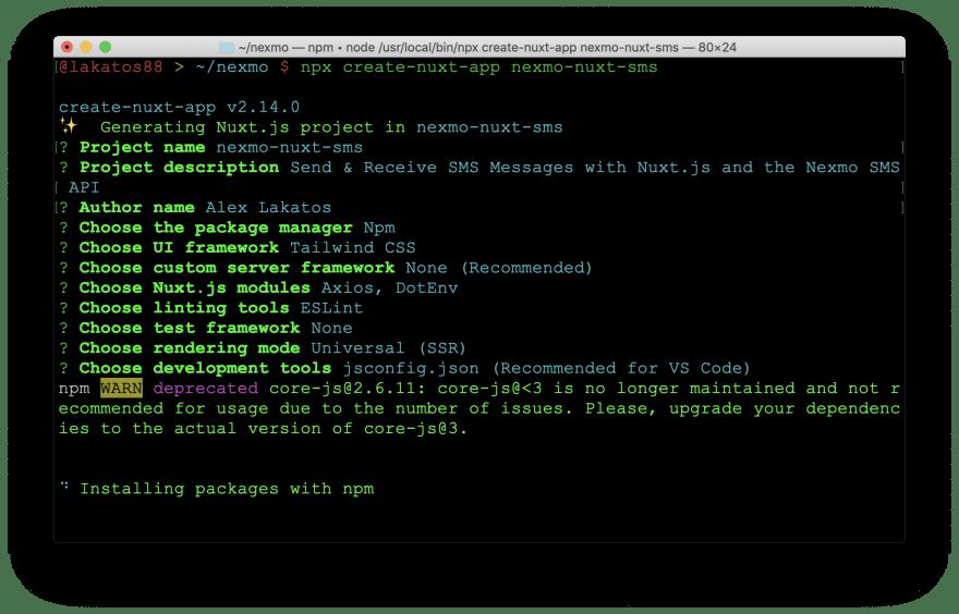 Create a Nuxt.js App