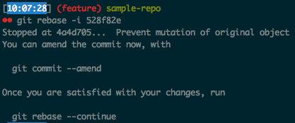 Git rebase interactive initial message