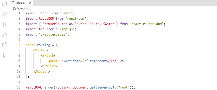 React code snippet with the Base16 - Light Tomorrow theme