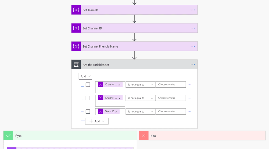 Screenshot of variable initialization and the conditional check
