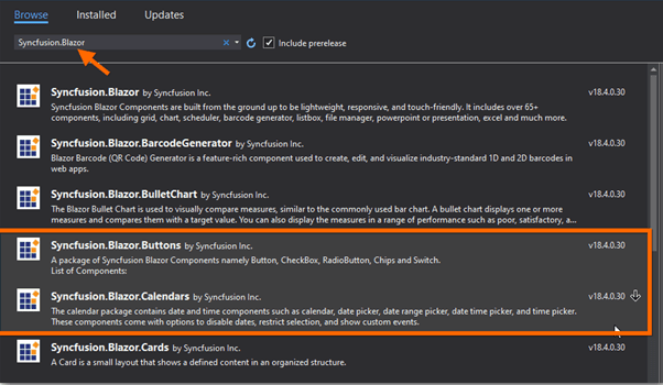 Install the Syncfusion.Blazor.Buttons and Syncfusion.Blazor.Calendars NuGet packages
