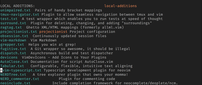 A Screenshot of Vim's help showing help files for installed plugins