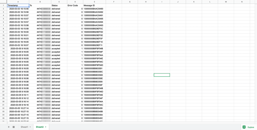 google sheets delivery receipts logged