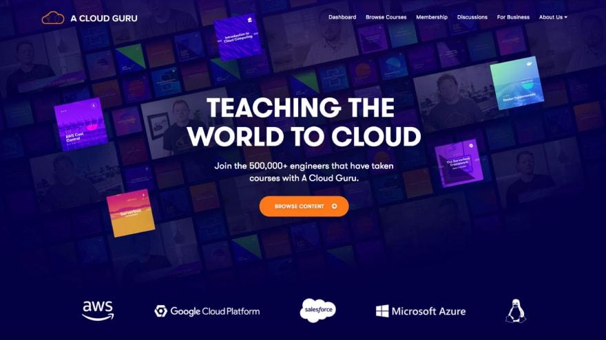 A screenshot of the A Cloud Guru homepage