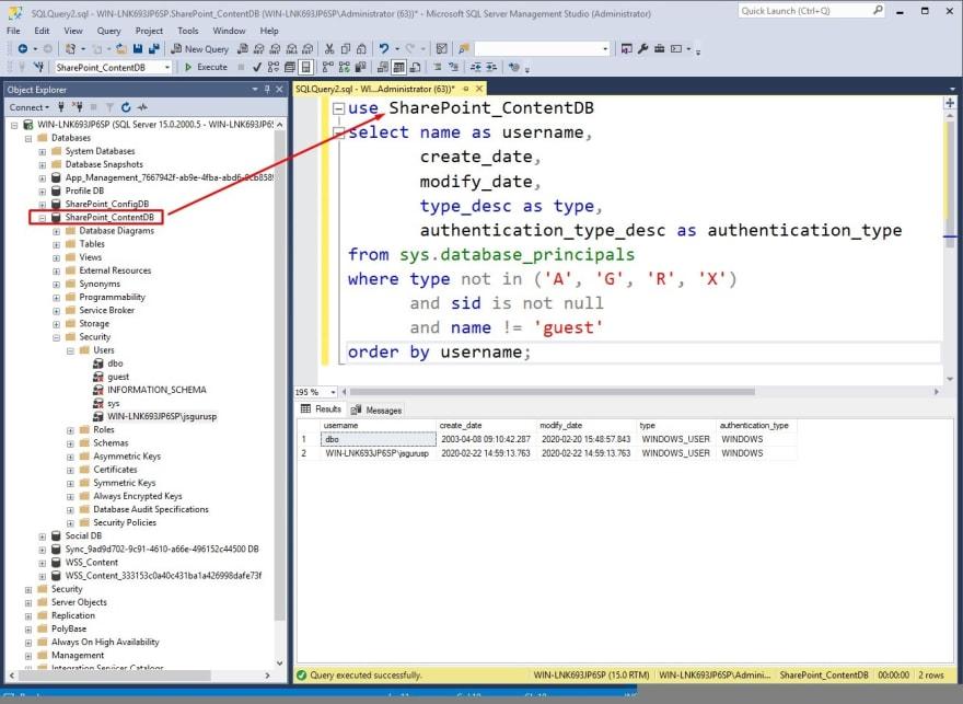 List users in sql server database on SSMS