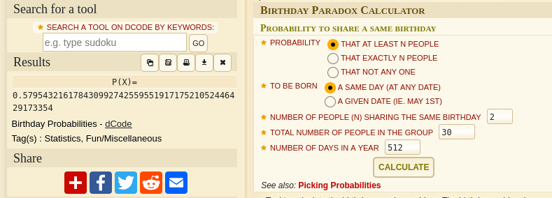 birthday paradox calculation