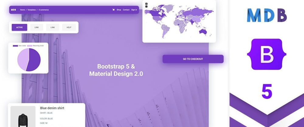 Cover image for The first UI Kit for Bootstrap 5! Using Material Design 2.0